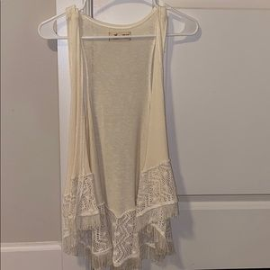 Cream tank top cardigan